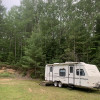 Camper in the woods.