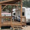 Remodeled camper, with large deck