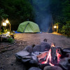 Camping in forest, next to a creek.