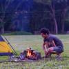 Tent camping on organic farm.