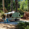 Trailer camping with lake view