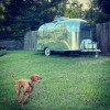 Airstream camping with lake view