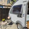 travel trailer in beach community