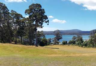 The view of Possum Bay from Semaphore Farm's main camping area.