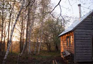 The cabin is set on a knoll, surrounded by trees