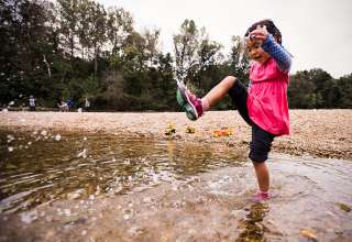 The rustic campsites are adjacent to the Meramec River - perfect for splashing around.