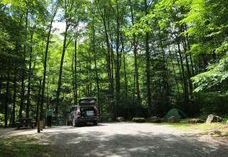 Site 23. One of the best sites at the campground. Wooded, secluded. Located on the creek. The site is set back off of the road.