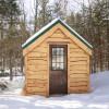 Forest cabin along brook