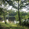 RV camping on seven acre pond