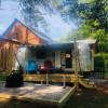 Vintage camper on the farm