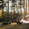 Secluded meadow camping