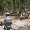 Shady campsite near the river