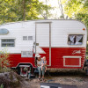 Retro Camper in the Woods